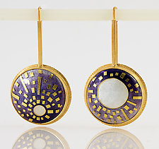SunMoons Enamel & Gold Earrings by Jan Van Diver (Enameled Earrings)