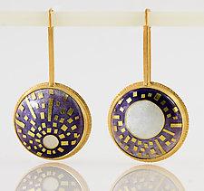 SunMoons Enamel & Gold Earrings by Jan Van Diver (Enameled Earrings)