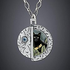 Black Cat Necklace by Dawn Estrin (Silver Necklace)