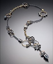 Black and Gold Plumb Bob Treasure by Suzanne Q Evon (Gold & Silver Necklace)