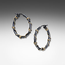 Medium Black and Gold Wrapped Hoops by Suzanne Q Evon (Gold & Silver Earrings)