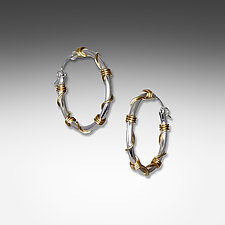 Medium Silver and Gold Wrapped Hoops by Suzanne Q Evon (Gold & Silver Earrings)
