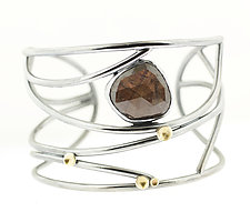 Lichen Tornado Silk Sapphire Cuff Bracelet by Renee Ford (Gold, Silver & Stone Bracelet)