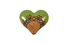 Bleita's Ballerinas in Green by Laurie Pollpeter Eskenazi (Ceramic Wall Sculpture)