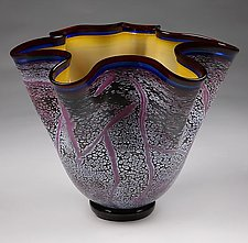 Small Fissure Vessel in Regal Violet with Topaz Interior by Eric Bladholm (Art Glass Bowl)