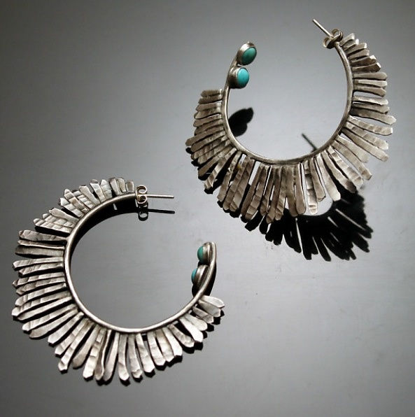 Hammered Hoops with Turquoise