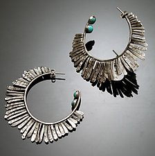 Hammered Hoops with Turquoise by Ashley Vick (Silver & Stone Earrings)