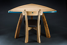 Triangle Table Desk with Chair by Todd  Bradlee (Wood Desk)