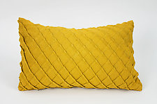 Cross Pleat Pillow in Goldenrod Yellow by Carol Gilbert (Linen Pillow)