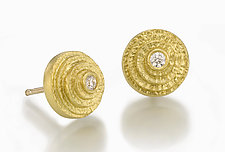 Spiral Ear Studs by Susan Barth (Gold & Stone Earrings)
