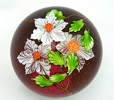 White Flowers on Ruby by Mayauel Ward (Art Glass Paperweight)
