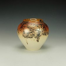 Horse Hair Raku Jar II by Lance Timco (Ceramic Vessel)