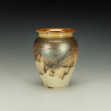 Horse Hair Raku Jar III by Lance Timco (Ceramic Vessel)