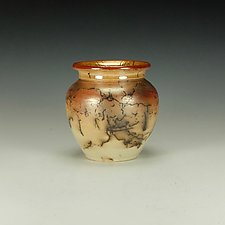 Horse Hair Raku Jar IV by Lance Timco (Ceramic Vessel)