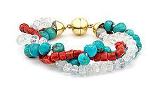 Coral, Turquoise, and Rainbow Moonstone Bracelet by Pamela Huizenga  (Gold & Stone Bracelet)