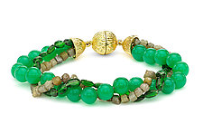 Diamond, Chrysoprase, and Tourmaline Bracelet by Pamela Huizenga  (Gold & Stone Bracelet)