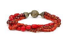 Garnet, Coral, and Bamboo Bracelet by Pamela Huizenga  (Gold & Stone Bracelet)