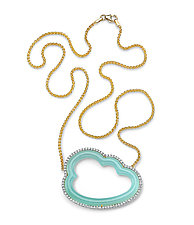 Silver Linings Cloud Necklace by Pamela Huizenga  (Gold & Stone Necklace)