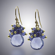 Blue Quartz Earrings by Judy Bliss (Gold & Stone Earrings)