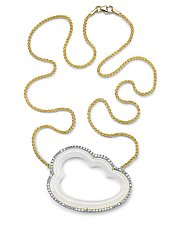 Silver Linings White Cloud Necklace by Pamela Huizenga  (Gold & Stone Necklace)