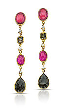 Pink Tourmaline and Diamond Earrings by Pamela Huizenga  (Gold & Stone Earrings)