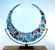 Really the Blues Crescent by George Scott (Art Glass Sculpture)