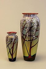Gold Cherry Blossom Vases by Carl Radke (Art Glass Vase)