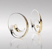 Wave Hoop Earrings by Nancy Linkin (Gold & Silver Earrings)