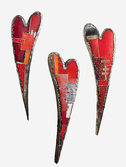 Swooping Hearts Wall Sculpture