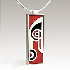 Rectangular Musical Note Pendant by Victoria Varga (Silver & Resin Necklace)