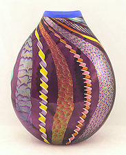Large Amethyst Twisted Cane and Dichroic Glass by Ken Hanson and Ingrid Hanson (Art Glass Vase)