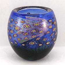 Aqua Island Series Bowl by Ken Hanson and Ingrid Hanson (Art Glass Bowl)