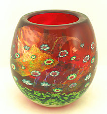 Ruby Island Series Bowl by Ken Hanson and Ingrid Hanson (Art Glass Bowl)