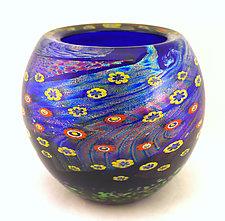 Cobalt Island Series Bowl by Ken Hanson and Ingrid Hanson (Art Glass Bowl)