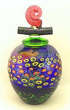 Cobalt Island Series Wish Keeper Jar by Ken Hanson and Ingrid Hanson (Art Glass Vessel)