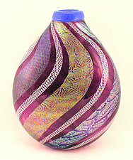 Amethyst with Dichroic and White Latticino Vase by Ken Hanson and Ingrid Hanson (Art Glass Vase)