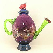 Amethyst Blossom Teapot by Ken Hanson and Ingrid Hanson (Art Glass Teapot)