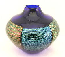 Cobalt Dichroic Vase II by Ken Hanson and Ingrid Hanson (Art Glass Vase)