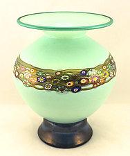 Celadon Vines Vase II by Ken Hanson and Ingrid Hanson (Art Glass Vase)