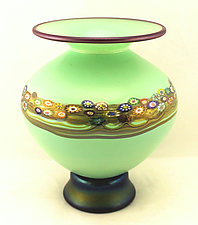 Blue Jade Vines Vase by Ken Hanson and Ingrid Hanson (Art Glass Vase)