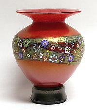 Red Vines Vase II by Ken Hanson and Ingrid Hanson (Art Glass Vase)