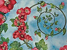 Hollyhock Spiral by Helen Klebesadel (Watercolor Painting)