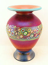 Peach and Ruby Vines Vase by Ken Hanson and Ingrid Hanson (Art Glass Vase)