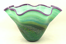Fluted Green Dichroic Bowl by Ken Hanson and Ingrid Hanson (Art Glass Bowl)