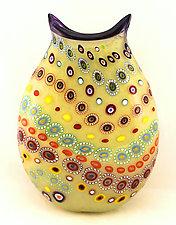Largest Beige Marrakesh Vase with Purple Trim by Ken Hanson and Ingrid Hanson (Art Glass Vase)