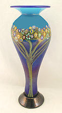 Tree of Life in Blue by Ken Hanson and Ingrid Hanson (Art Glass Vase)