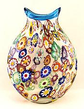 Small Impressionist Vase Blue Trim by Ken Hanson and Ingrid Hanson (Art Glass Vase)