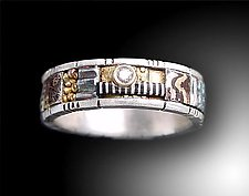 Silver and Gold Narrow Mosaic Ring with Diamond by Lynda Bahr (Gold, Silver & Stone Ring)