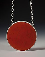 Coconut Red Disc Pendant by Ayala Naphtali (Silver Pendant)