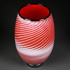 Red Rising (Studio Prototype) Large Vase by Eric Bladholm (Art Glass Vessel)